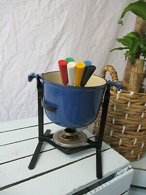 Le Creuset Fondue Set: Navy Blue Used Excellent Condition With Six Forks