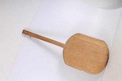 Antique Primitive Old Hand Carved Wooden Bread Board Plate With Short Handle.