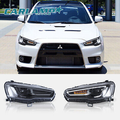 VLAND LED Headlights For 2008-2017 Mitsubishi Lancer EVO X Audi Look Left+Right