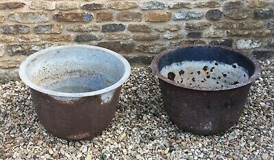 Two Cast Iron vintage dome shaped planters rustic country house item vgc for age