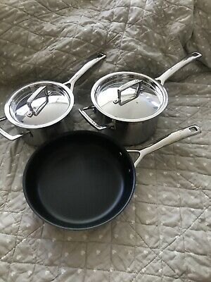 Le Creuset Set Of 3 , 2 Pans And Frying Pan! Brand New!