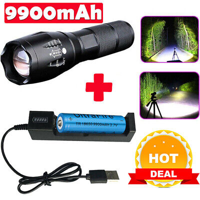 Ultrafire Focus Tactical Torch T6 LED 50000LM Flashlight /&18650 Battery/&Charger