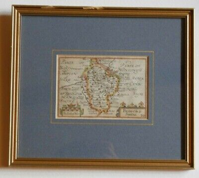 Antiquarian framed map  Bedfordshire cica1676