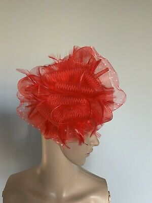 Red White Hair Clip Feather Fascinator Wedding Ladies Race Day Accessories