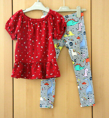 Next Girls Red Floral Top & Muti Dino Leggings Age 7 Years BNWT