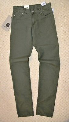 New Carhartt Slim Tapered Stonewash Jeans Green Boys Casual Ziggy Pant 25W 32L
