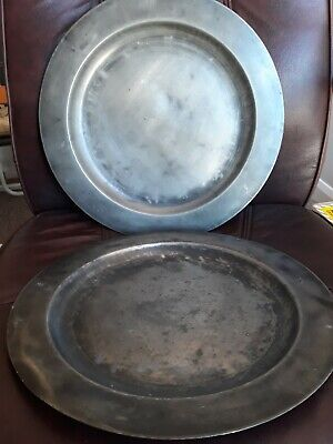 J Wylie Glasgow Metal Plates X 2 Possibly Pewter Antique