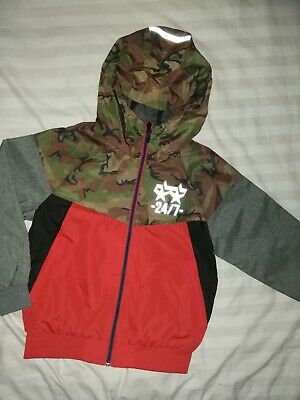 Boys Next Camouflage Red Grey Black Lightweight Jacket With Hood Age 7yrs