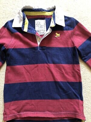 Mini Boden Boys Long Sleeve Rugby Stripe Shirt 5-6 Yrs