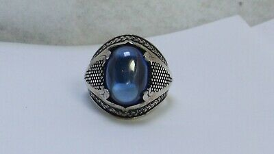 925 Sterling Silver Ring size 9 Blue stone Large