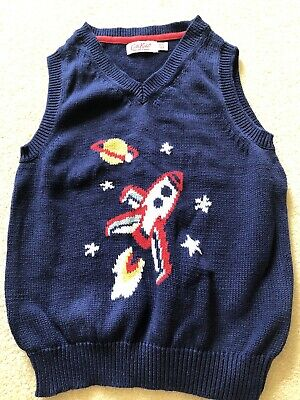 Boys CATH KIDSTON Rocket Knitted Tank Top - Age 5-6Yrs