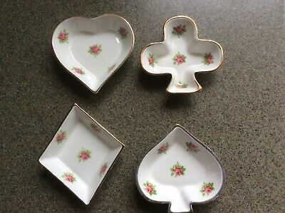 Rare HTF Royal Stuart Fine Bone China nut dishes Club Diamond Heart Spade