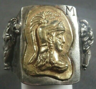 Ancient Roman Military Legionary Gold Silver Ring Minerva Circa 100 BC - 200 AD