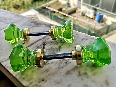 1 Pair ANTIQUE DOOR KNOBS - URANIUM  GREEN Glass - VICTORIAN ERA Pulls Handles