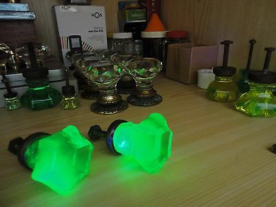 Pair ANTIQUE Drawer KNOBS -  Baccarat URANIUM GREEN Glass - VICTORIAN ERA