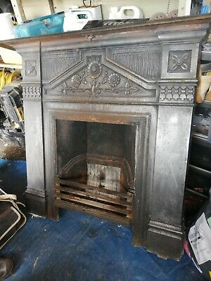Antique cast iron fireplace surround, beautiful all intact.