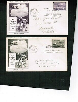 CANADA 1951 100 YEAR of POSTAGE 1851-1951 2 FDC cat #311-312 $9 USED BOX 504