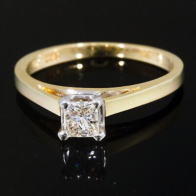 1/3 carat Princess cut Diamond Solitaire Engagement Ring 14k Yellow Gold .32 ct