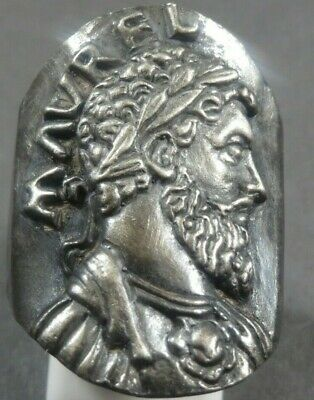 Beautiful Ancient Roman Legionary Military Silver Ring Emperor Marcus Aurelius