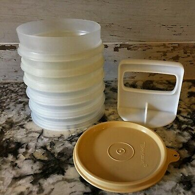 8 Piece Tupperware Hamburger Press with 6 Stackable Keepers 1 Press & 1 Tan Seal