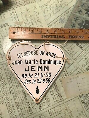 Antique French Enamel Memorial Plaque Heart