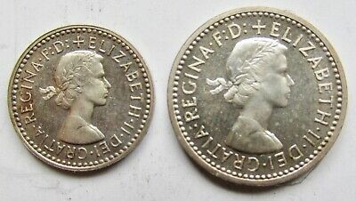 Great Britain 1954 2 Pence & 3 pence Partial Maundy Set Queen Victoria