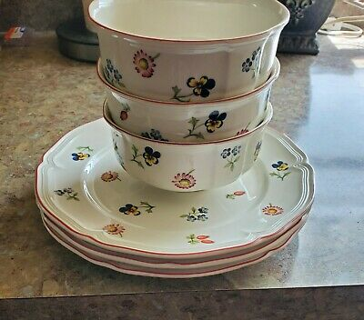 "VILLEROY & BOCH PETITE FLEUR SET OF 3 - 5 3/4"" bowls and 3 - 8 3/4"" Salad Plates"