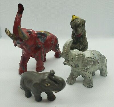Lot Of 4 Vintage Elephants Figurines Trunk Up Cast Iron