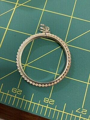 Sterling Silver 36mm Screw Top Rope Edge Coin Bezel