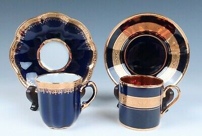 2 Vintage Limoges Cobalt & Gold Demitasse Cup & Saucer Sets French Porcelain