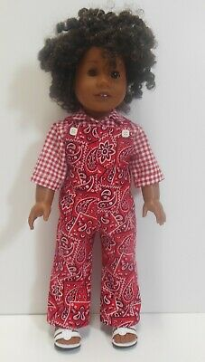 """American Girl 18"""" Doll Clothes-Red Overalls-Red Cowgirl Blouse-Handmade-Kayesew"""