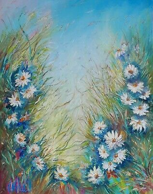 Original Abstract Oil Art Floral Daisies In A Field