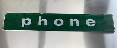 Vintage Telephone Booth [Original Glass] Sign [White on Green PHONE]
