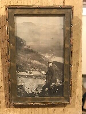 Vtg Arts & Crafts Picture Frame Yellowstone National Park Photo 1910's Small 3x5