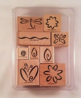 Stampin Up Fresh Flowers Two Step Rubber Stamp Set of 9 Paper Craft Scrapbooking