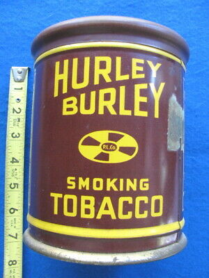 Vintage HURLEY BURLEY CANISTER TOBACCO CAN/TIN, KNOB TYPE LID