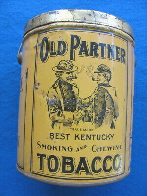 Vintage OLD PARTNER TOBACCO CAN/TIN, CONFEDERATE OFFICER/SOLDIER