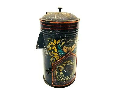 Antique Pennsylvania Folk Art Tole Ware Painted Metal / Tin Warmer or Thermos