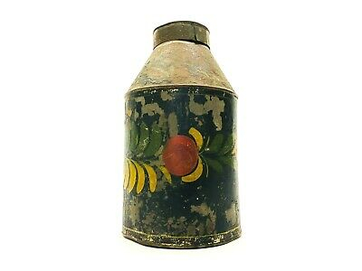 Antique Pennsylvania Folk Art Tole Ware Painted Metal / Tin Thermos