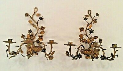 Vtg pair beautiful brass candelabra Wall Sconces 3 candle scrolled floral vine