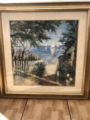 Gold Framed Print Tranquil Pathway Yacht Sea By Marysia Burr Natural Wonders