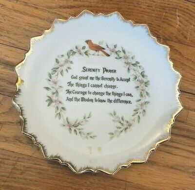 Antique Serenity Prayer Plate Made in Japan Circa 1950's-60's