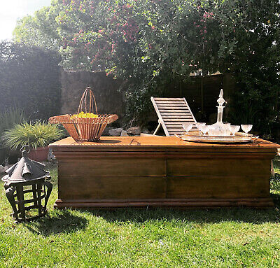 Antique Chest/ Blanket Box Long Rustic Storage Home Coffee Table