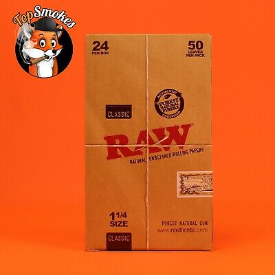 24 Pack Full Box Raw 1.25 (1 1/4) Classic Natural Rolling Paper Spain Authentic