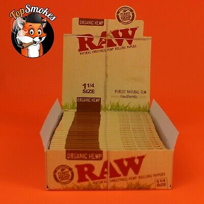 24 Pack Full Box Raw 1.25 (1 1/4) Organic Hemp Natural Unrefined Rolling Papers