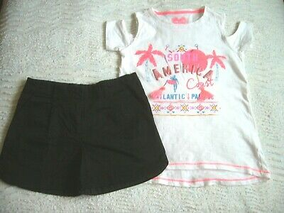 Next Black Shorts Adj. Waist 8 Years & F&F New Cold Shoulder Top 8-9 Yrs.