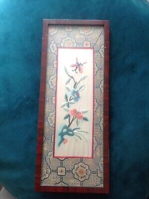 Vintage Chinese Silk Wall Hanging Of Flowers And Butterfly