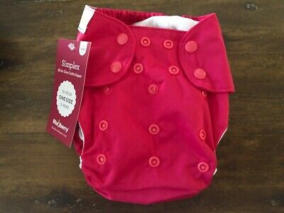 Blueberry Simplex All-in-One Cloth Diaper - One Size - Snap Close - Raspberry