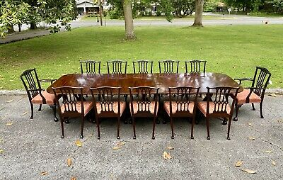 Mahogany Regency Three / Triple Section Banquet Dining Table & 12 Dining Chairs