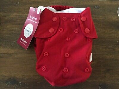 Blueberry Simplex All-in-One Cloth Diaper - One Size - Snap Close - Solid Red